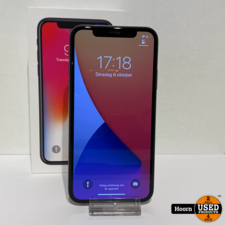 iPhone X 64GB Space Gray Compleet in Doos incl. Lader Accu: 89%