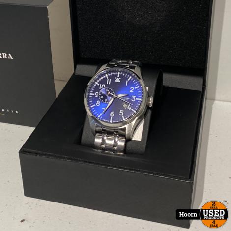 Alpha Sierra Automatic AMS01 Herenhorloge Zilverkleurig/Blauw - Ø 46 mm Nieuw in Doos
