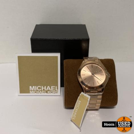 Michael Kors MK3197 Dames Runway Horloge 42mm Rose Staal Nieuw in Doos