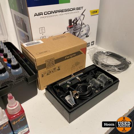 Fengda Complete Airbursh Set Nieuw incl. Compressor, 2x Verfpistool en diverse Verf