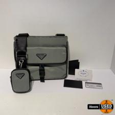 Prada 2VH110 Nylon Cross-Body Bag Grey/Nero in Nieuwstaat