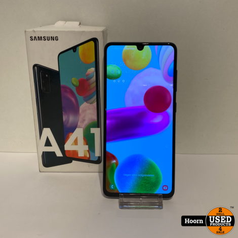 Samsung Galaxy A41 64GB Crush Black in Doos incl. Lader en Bon