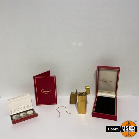 Cartier Paris Aansteker Verguld Goud Vintage 1970 Compleet Met Doosje, Vuursteentjes en Navulling