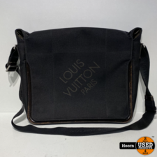 Louis Vuitton Louis Vuitton Damier Geant Terre Messenger Bag Zwart met Bruin Lederen Afwerking