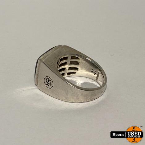 Rebel and Rose 925 Sterling Zilveren Onyx Ring Maat: 57