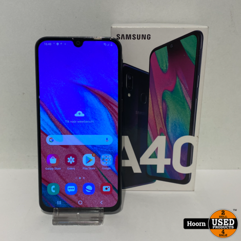 Samsung Galaxy A40 2019 64GB Black in Doos incl. Lader in Nette Staat