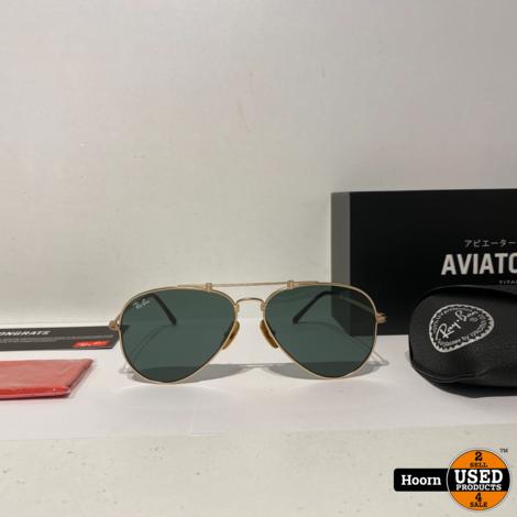 Ray-Ban RB8125 Aviator Titanium Gold Plated Nieuw 913658 58/14