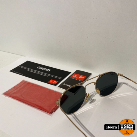 Ray-Ban RB8147M Round Titanium Gold Plated Zonnebril Nieuw 9143 50/21