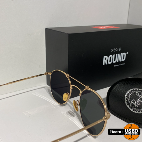 Ray-Ban RB8147M 9143 Round Titanium Gold Plated Zonnebril Nieuw Compleet in Doos