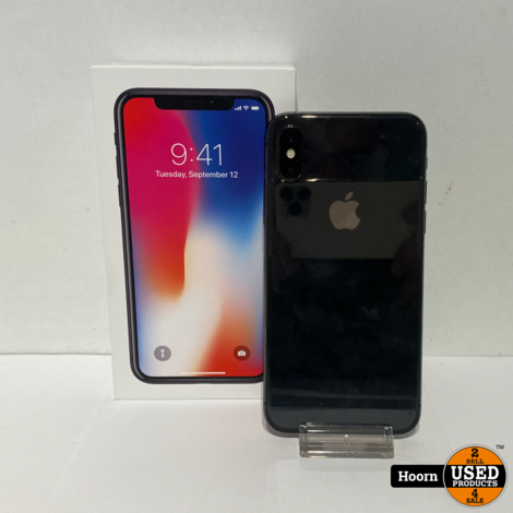 iPhone X 64GB Space Gray in Doos incl. Lader Accu:86%