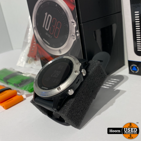 Garmin Fenix 3 Sport Horloge Compleet in Doos met Extra Bandjes, Exclusief Hartslagmeter