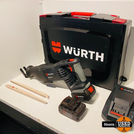 Wurth SBS 18-A Reciprozaag op Accu incl. 2x 18V 4.0Ah Accu, Lader en 19 Zaagjes Compleet in Koffer in Zeer Nette Staat