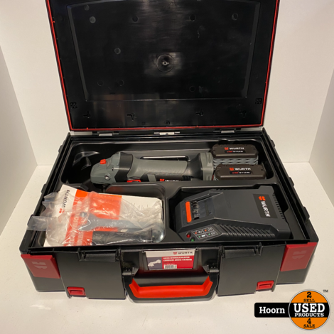 Wurth EWS 18-A/125mm Haakse Slijper op Accu incl. 2x 18V 4.0Ah Accu en Lader Nieuw in Koffer
