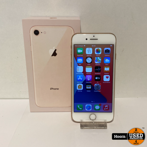 iPhone 8 64GB Gold in Doos incl. Lader Accu: 80%