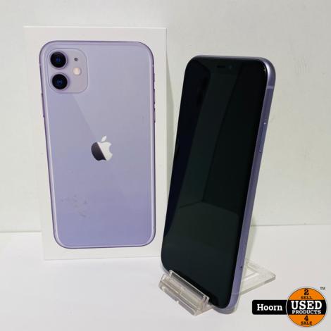 iPhone 11 128GB Black/Purple in Doos incl. Lader Accu: 88%