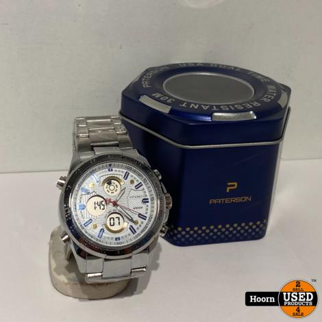 Paterson Racing California 1987 USA Dual Time 44MM Horloge Nieuw in Box