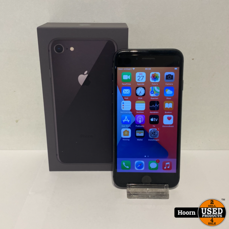 iPhone 8 64GB Space Gray in Doos incl. Lader Accu: 85%