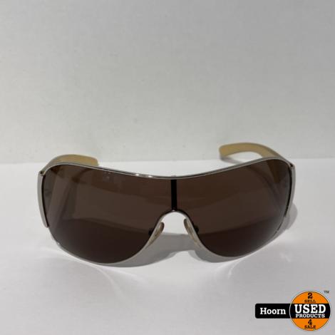 PRADA SPR 57L 1BC 8C1 120 3N Authentic Silver Beige Brown Zonnebril