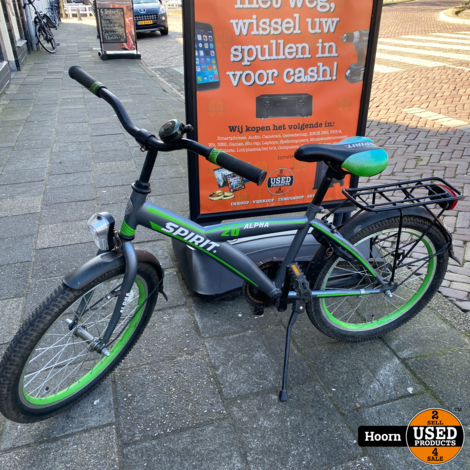 Spirit Alpha 20 Inch KinderFiets Groen/Zwart in Nette Staat