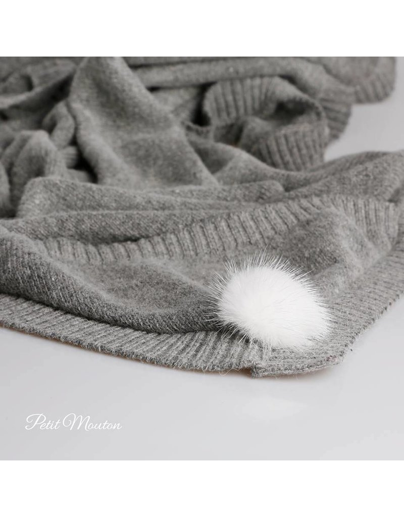Babydekentje grijs pompom