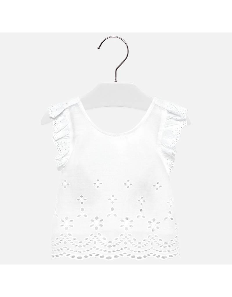 Mayoral Embroidered loose shirt       White