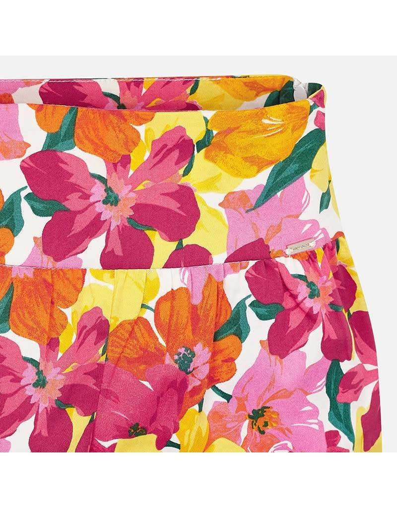 Mayoral Flower printed shorts         Coral
