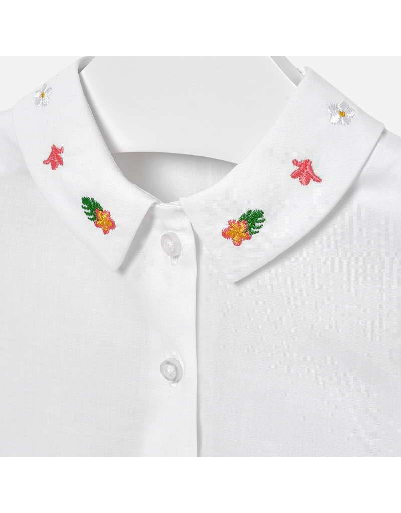 Mayoral Blouse with embroidered neck  Geranium