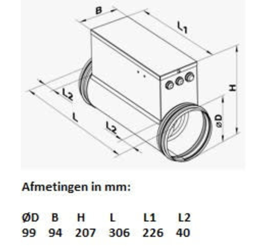 Elektrische Kanaalverwarmer 100 mm 1,6 kW