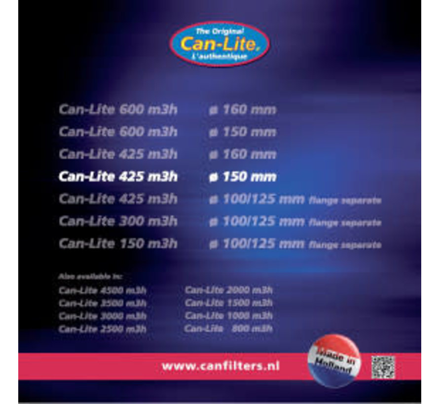 Can Filters Lite 425S Staal Koolstoffilter 425 m³/h