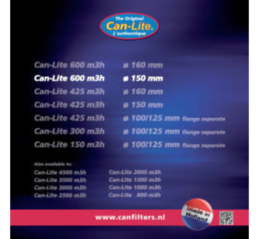 Can Filters Lite 600 Staal Koolstoffilter 600 m³/h