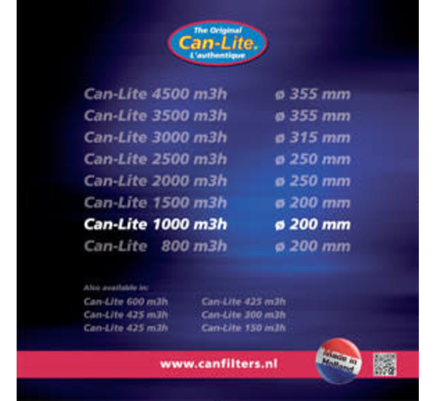 Can Filters Lite 1000 Staal Koolstoffilter 1000 m³/h