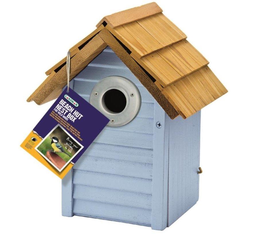 Beach Hut Nest Box Blue