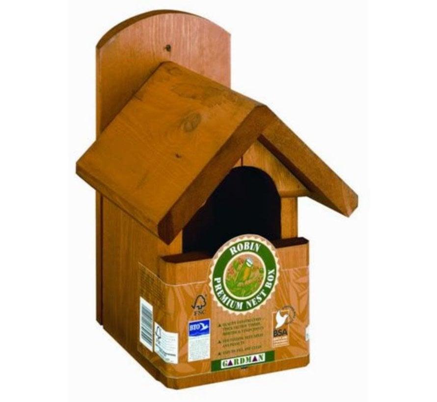 Premium Roodborst Nestkast Vogelhuis 19mm Hout