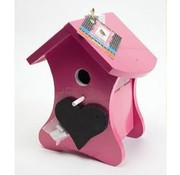 Buzzy Bird Home Pink Birdhouse Nest with chalk