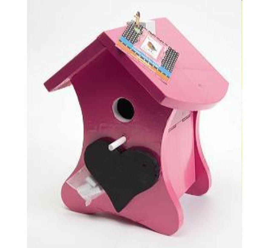 Buzzy Bird Home Roze Vogelhuis Nestkast met Krijt