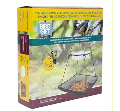 Buzzy Seeds Bird Gift Bird Station Hanging with Large Feeding Tub