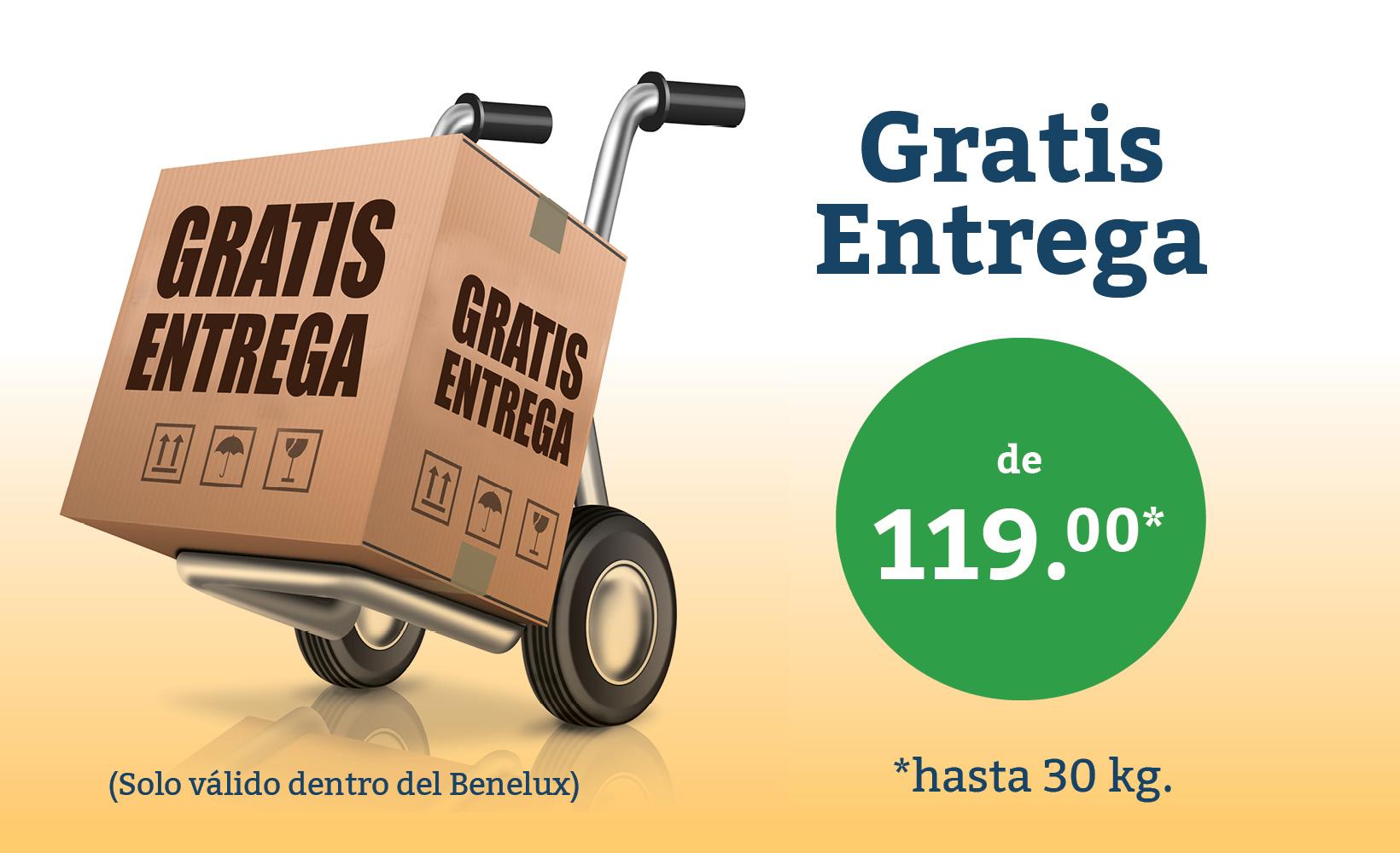 Hasta un máximo de 30 kg enviados gratis en el Benelux desde 119 euros.