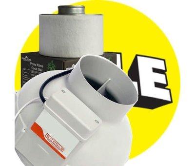 G-Tools GT 1-Speed Buisventilator 125mm + PK2601 Flat Koolstoffilter