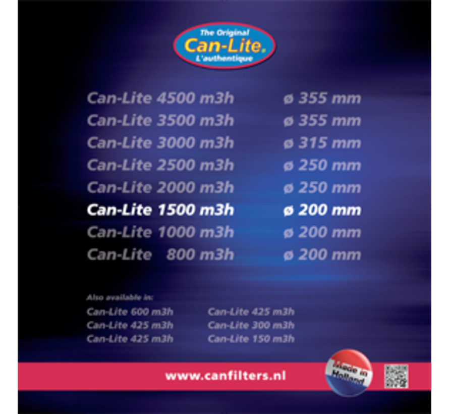 Can Filters Lite 1500 Koolstoffilter 250 mm 1500 m³/h