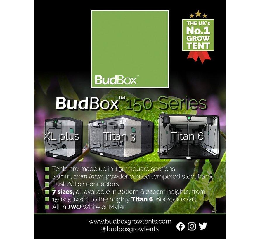 BudBox Pro XL Plus HL Grow Zelt Silber 150x150x220 cm