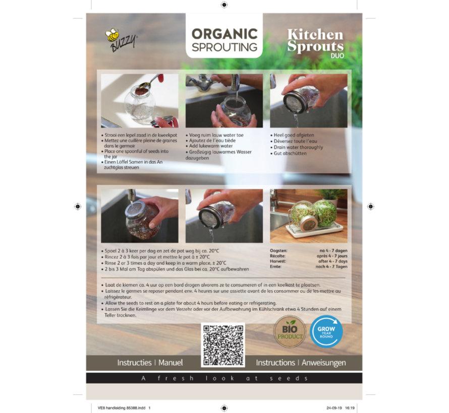Buzzy Birds Organische Keimungs Sprossenglas mit Behälter
