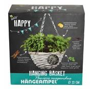 Buzzy Grow Gifts Happy Garden Hängender Blumentopf Basilikum Mix