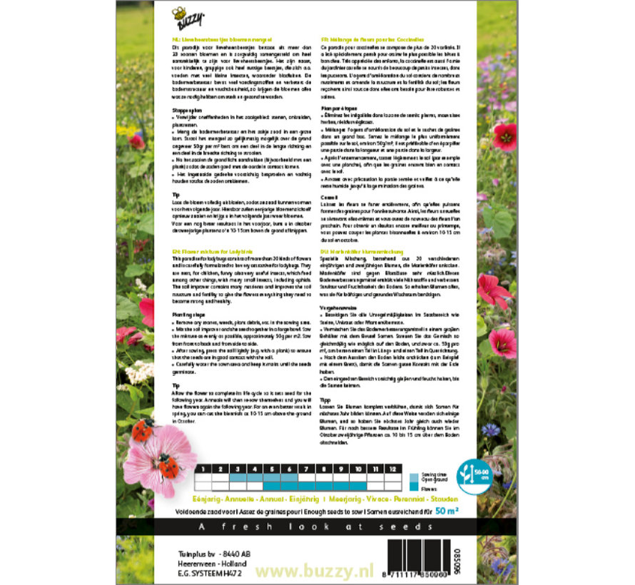 Friendly Flowers XL Bloemenmix voor Lieveheersbeestjes 50m²