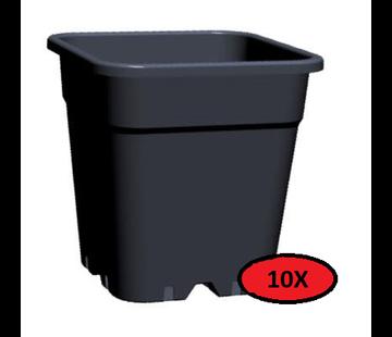 Fertraso 10x Grow Pot Square 25 Liter 33x33 cm Black