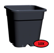 Fertraso 10x Kweekpot Vierkant 11 Liter 24x24 cm Zwart