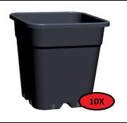 Fertraso 10x Maceta Cuadrada 11 Litros 24x24 cm Negra
