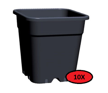 Fertraso 10x Grow Pot Square 11 Liter 24x24 cm Black