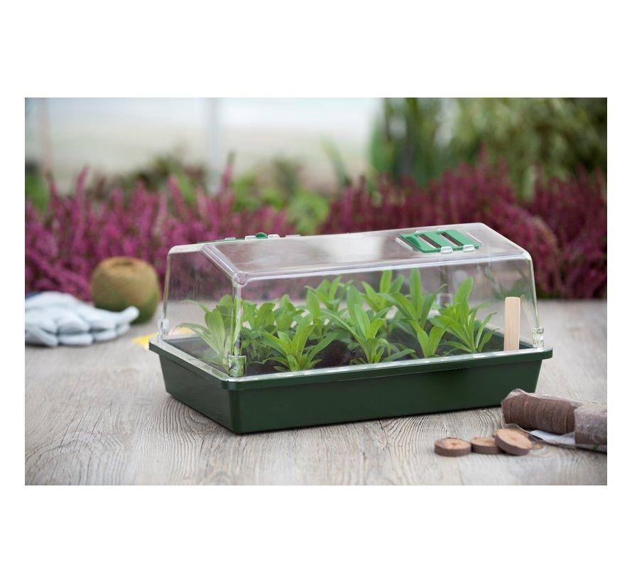 Nature Mini Kweekkas met Ventilatieopening Groen 21x55x31 cm