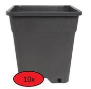 Fertraso 10x Kweekpot Vierkant 3.5 Liter 15x15 cm Zwart