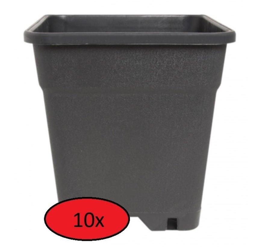 Fertraso 10x Kweekpot Vierkant 5 Liter 17x17 cm Zwart